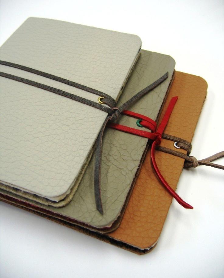 Three Small Leather Notebooks. $24.00, via Etsy.