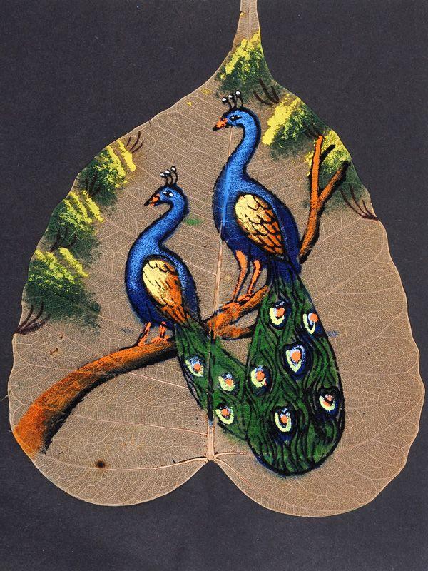 painting on peepal leaf art
