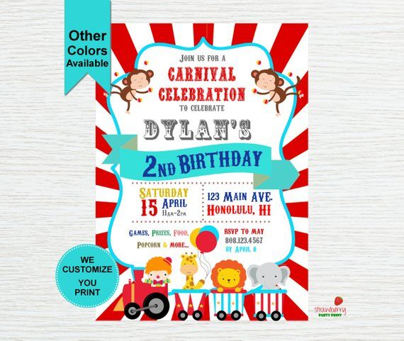 circus birthday invitations birthday