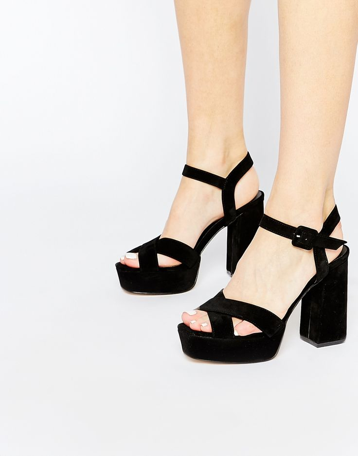 Truffle Collection Regan Cross Strap Platform Heeled Sandals | Asos these would be really cute for homecoming or prom!