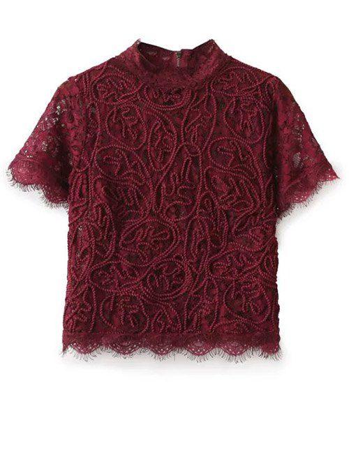 $23.99 Mock Neck Lace Top - BURGUNDY S