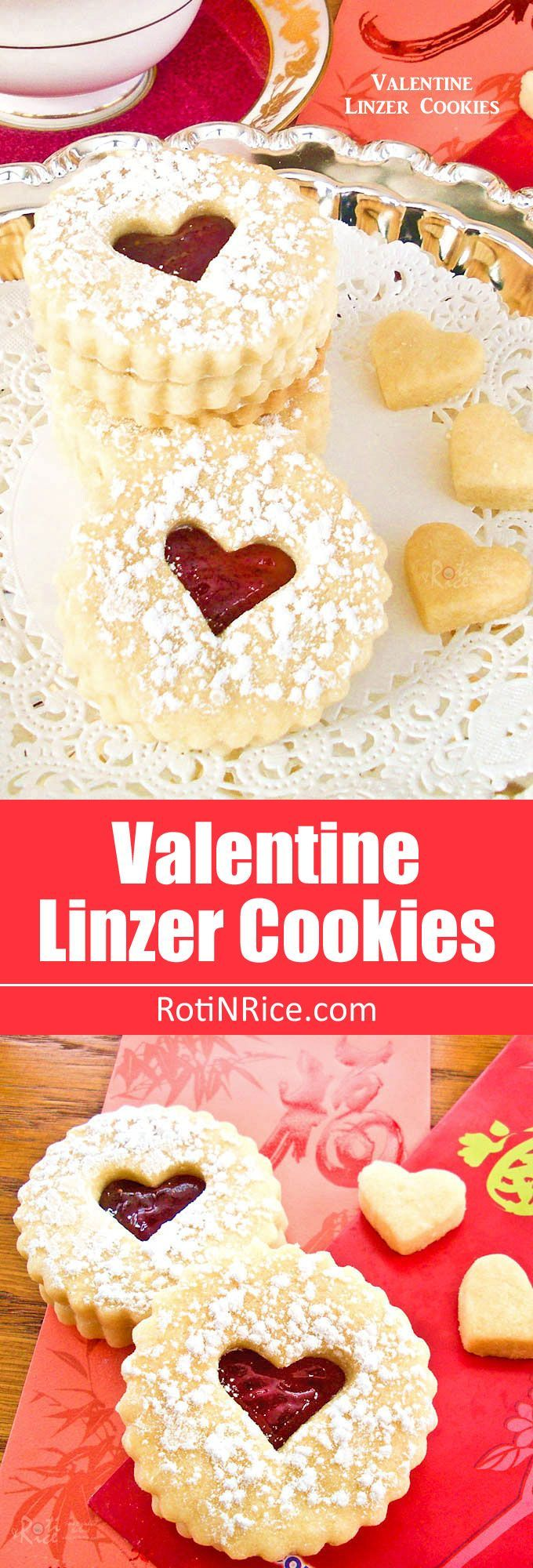 Buttery egg-free Valentine Linzer Cookies with strawberry jam for your sweetie on Valentine's Day. Perfect with a cup of tea. | http://RotiNRice.com
