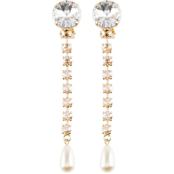 Earrings with Pearl and Crystals ❤ liked on Polyvore featuring jewelry, earrings, clip on pearl earrings, nickel free earrings, clip back earrings, polish jewelry and pearl jewellery