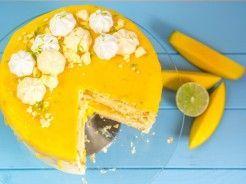 Sommerliche Limetten-Mango-Torte mit Mangocreme und Vanille