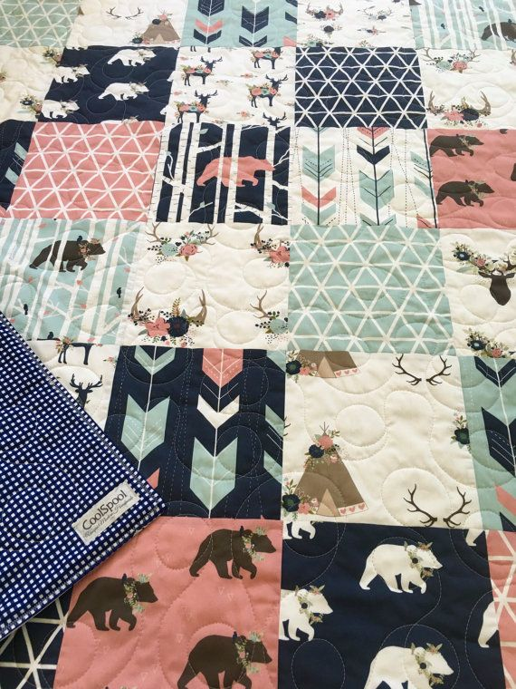 Baby Quilt Girl Woodland Nursery Bedding Crib Bedding by CoolSpool