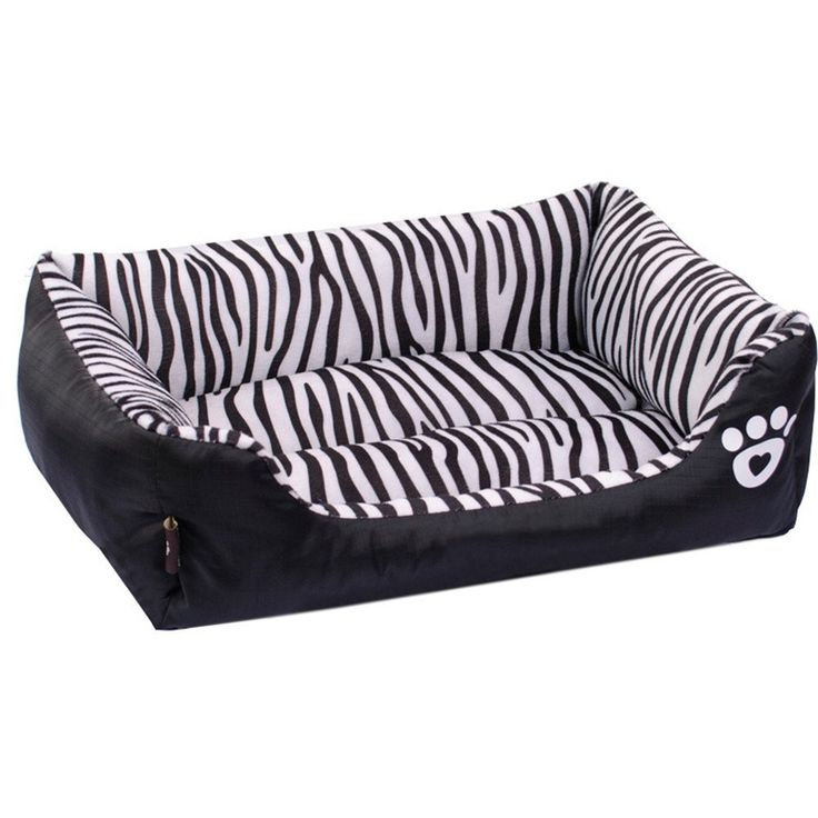 Pet dog Puppy Soft Black Zebra Striped Patterns Bed House Square Durable Dog Indoor Sofa ** You can find out more details at the link of the image.