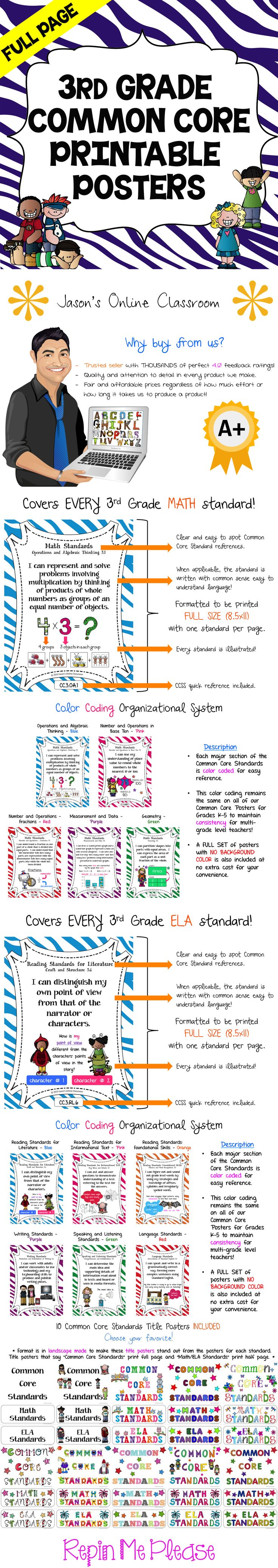 3rd GRADE COMMON CORE POSTERS - Save a ton of time by buying our FULL PAGE SIZE pre-made Common Core color coded posters with detailed visual examples. We also offer half-sized posters which can be found at our TpT store. $$
