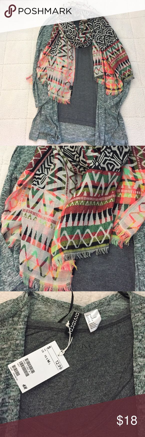 3 pc H&M divided tribal scarf cardigan lot 3 beautiful pieces. Size M nwt H&M divided cardigan in green. Size M merona brand vneck tshirt in gray. H&M divided tribal neon full scarf. Divided Sweaters Cardigans