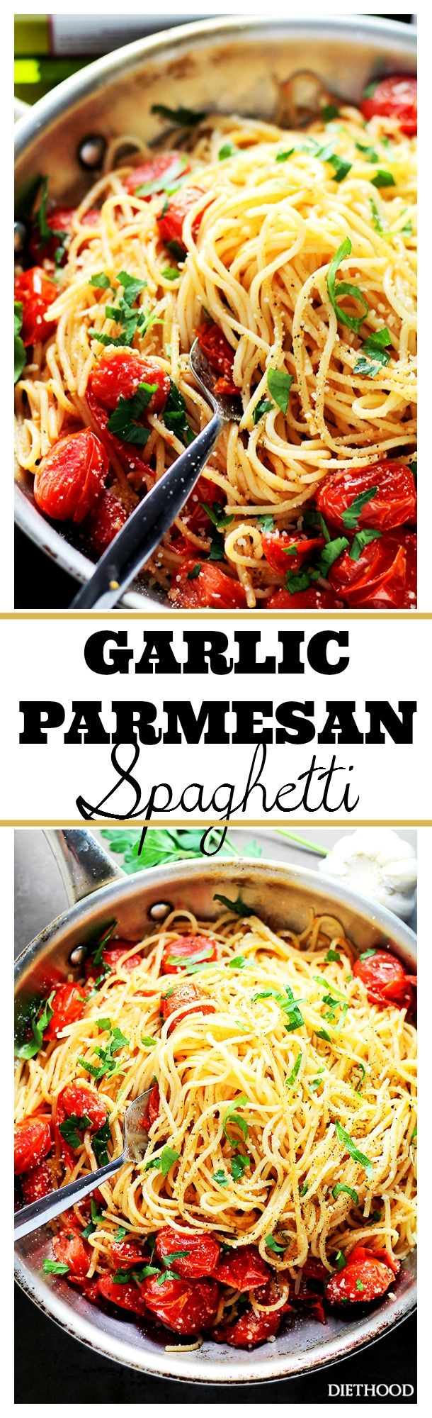 Garlic Parmesan Spaghetti with Blistered Tomatoes -  Tossed in roasted garlic oil, blistered tomatoes and a handful of parmesan cheese, these easy, 20-minute Garlic Parmesan Spaghetti are THE best!
