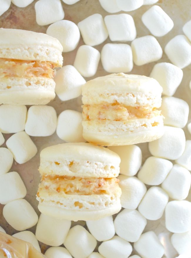 Toasted Marshmallow Macarons- delicate macaron shells are filled with ...