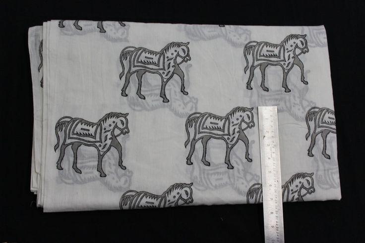 5 yard Printed Horse Print India Cotton Fabric/Natural Vegetable Dyes for Dresses,Curtain Jaipur Sanganeri Print hand block Print Fabric by BLOCKPRINTFABRIC on Etsy
