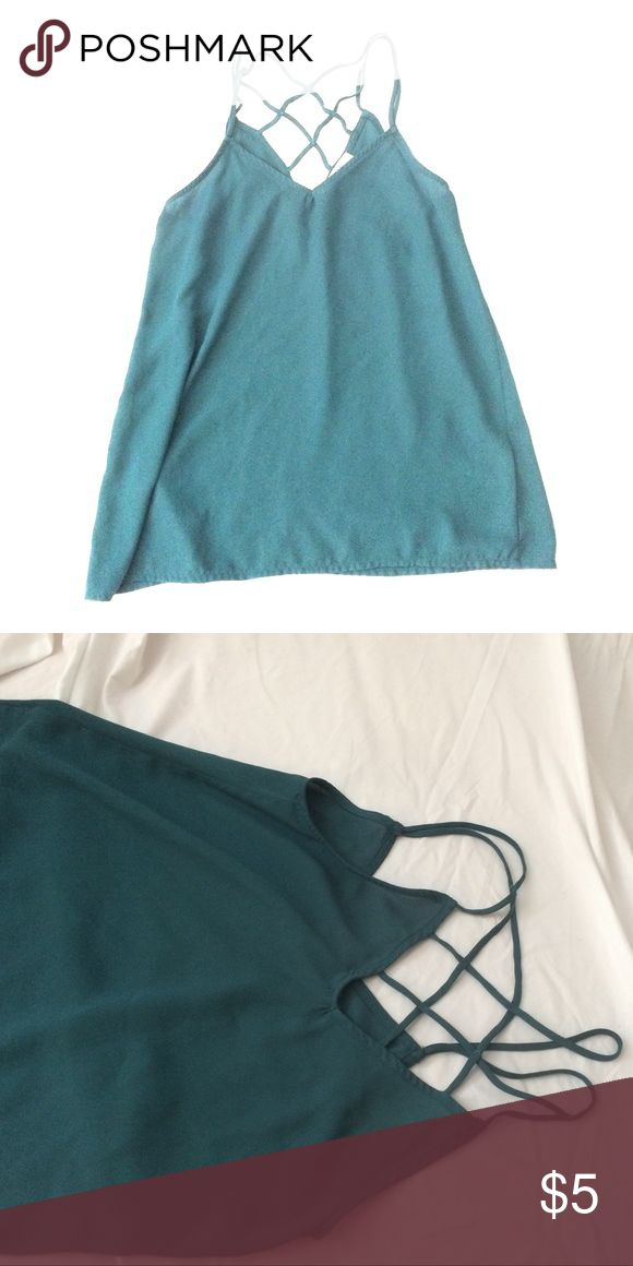 Green Strappy Top This top is dark green/teal and is quite strappy in the back. Good for casual wear or a night out. Size S. R O & D E Tops Camisoles