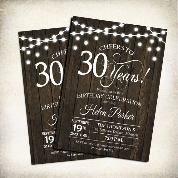 30e anniversaire Invitation / rustique / par TheStarDustFactory
