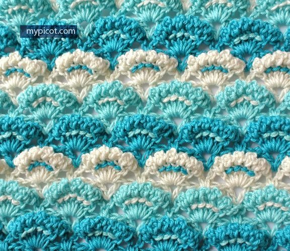 MyPicot | Crochet Textured Shell Stitch | Free crochet patterns | New pattern as of 4/2/15. ||  ♡ WELL, SHE DID IT AGAIN! THE SWEETEST, MOST BEAUTIFUL PATTERN FOR A BABY BLANKET...AND A TON OF OTHER THINGS TOO, OF COURSE! ♥A