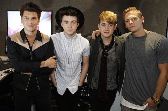 Rixton's Charley Bagnall, Jake Roche, Danny Wilkin and Lewi Morgan at Kiss FM in April 2015...