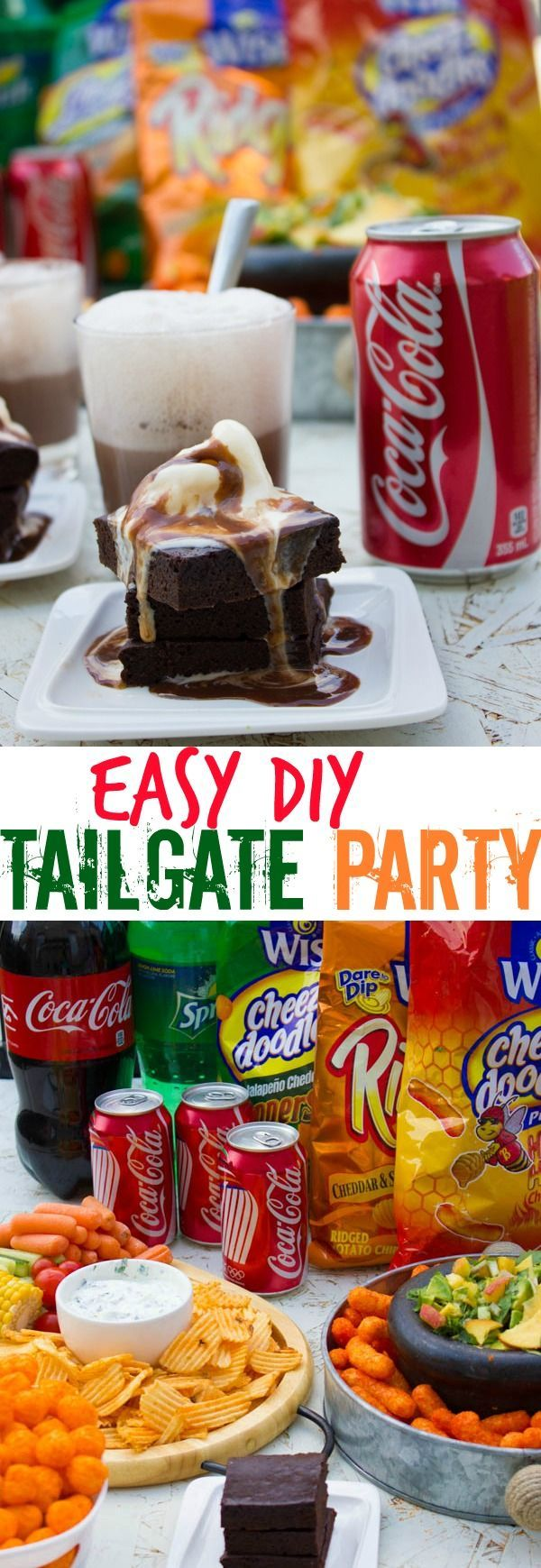 Easy DIY Tailgate Party Food. A combo of refreshing Yogurt herb dip, avocado peach salsa and a divine Coca-Cola Brownie! Serve with more Cola drinks, ice cream floats and more ice cream! #ad #GameTimeHosting http://www.twopurplefigs.com
