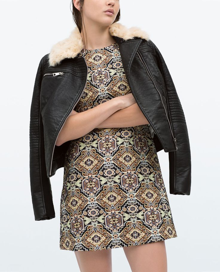 Image 2 of JACQUARD STRAIGHT DRESS from Zara
