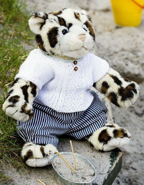 Hvid bluse og mælkedrengestribede shorts til Build-a-Bear - Hendes Verden