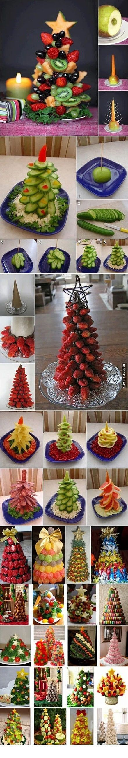 30 ways to make fruit Christmas trees ~~ How to, how to do, diy instructions, crafts, do it yourself, diy website, art project ideas by Mary ...