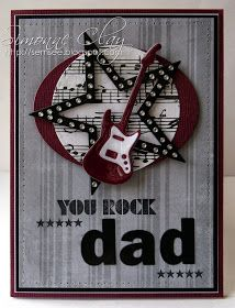 preciosa tarjeta postal de guitarra rockera SemSee's Sparkly Scribblings: MFT Rock and Roll red guitar