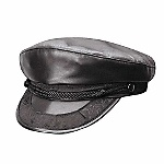This men's leather cap needs no introduction: it's a Greek Fisherman hat done in genuine lambskin. It has the same detailing as its more traditional counterpart in wool. Made in the USA. Item Number: HYL3