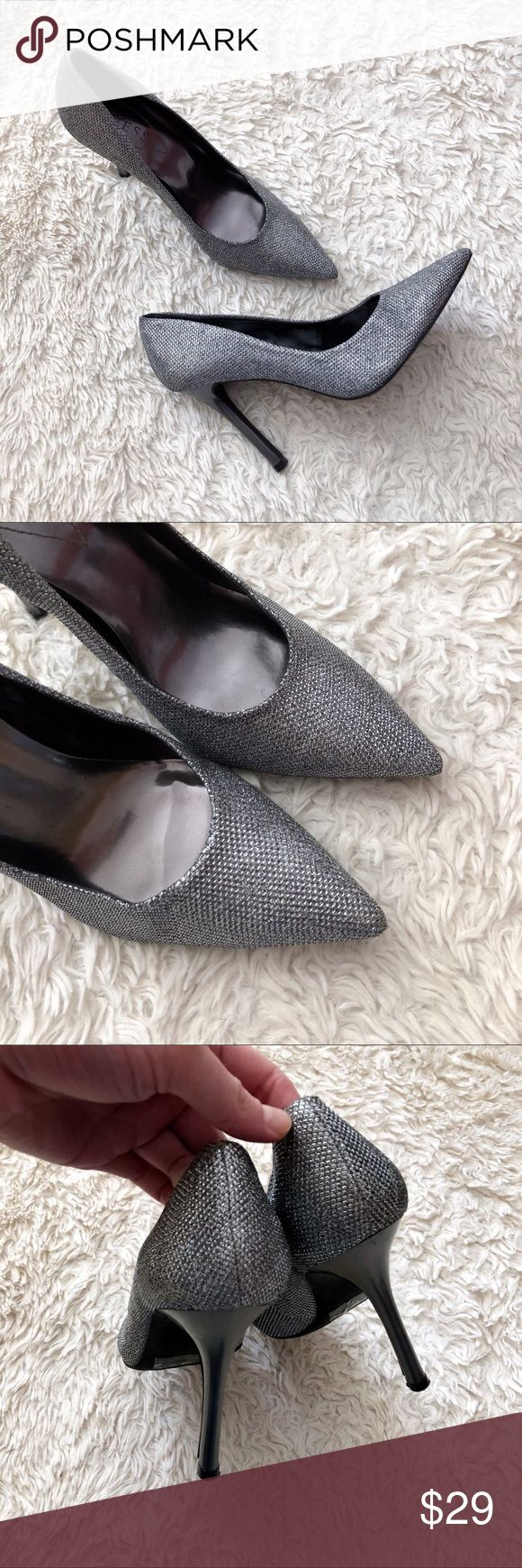 """GUESS Sparkly Metallic Glitter Pointy Toe Pumps Pointy toe sparkly sequin silver metallic pumps. Excellent Condition—one tiny flaw that you'd never notice without super close inspection. Heel Height: 4"""". ✨OFFERS WELCOME✨ Guess Shoes Heels"""