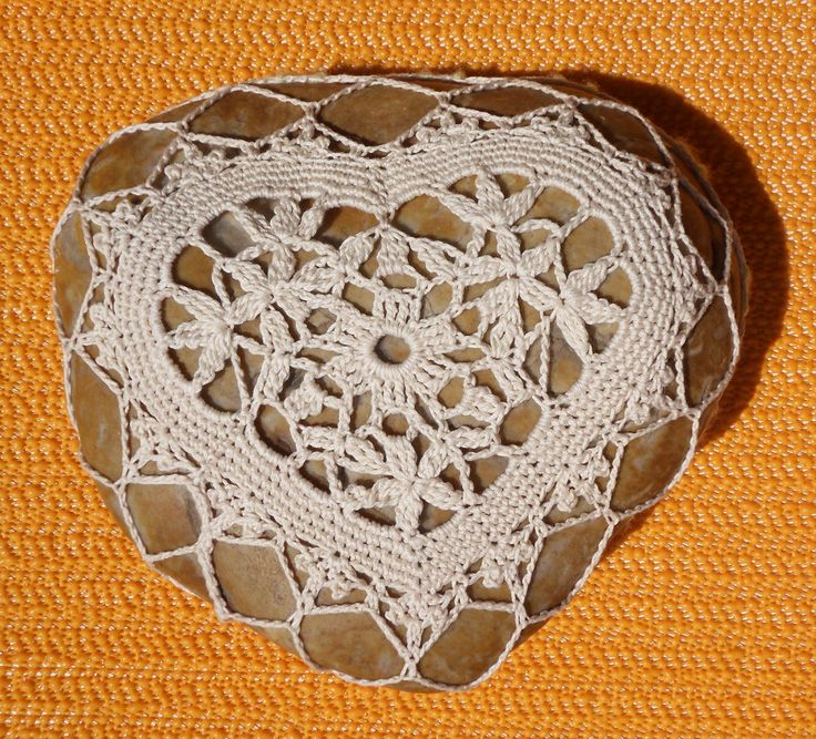 Crochet Floral Heart covered rock