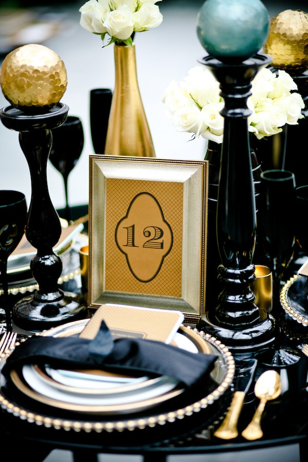 Black & gold decor pieces are SO glam. #blacktieaffair #weddingsTables Sets, Blackgold, Inspiration, Black Gold Weddings, Photography Events Design, Tables Numbers, Table Numbers, New Years, Gold Events