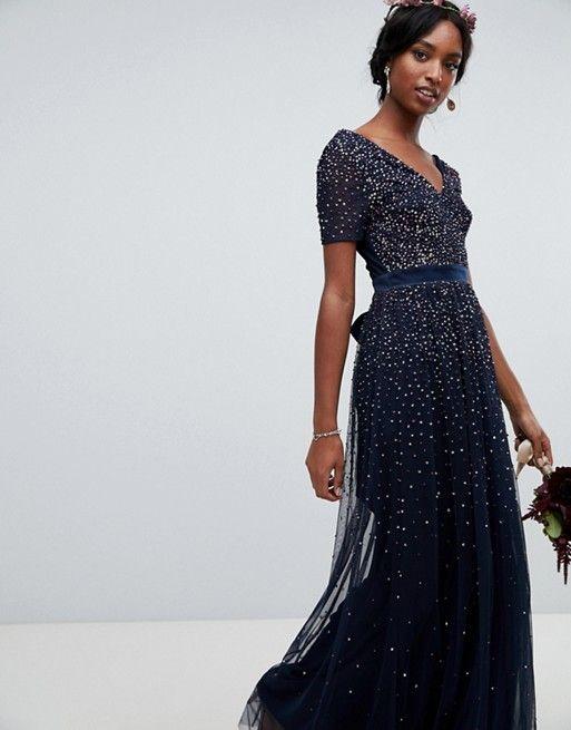 ea2343da481 Maya Tall v neck maxi tulle dress with contrast tonal delicate ...