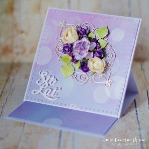 Ręcznie robione kartki urodzinowe w kolorze fioletowym. Kartka sztalugowa na urodziny, scrapbooking. Oryginalny prezent dla kobiety
