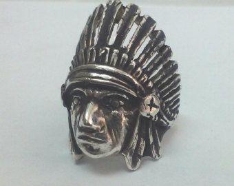 Anillo de cabeza de indio, el jefe indio, enfriar regalo, joyería India, nativo indio jefe anillo de hombres, plata India, anillo ciclista, joyería del Mens anillo