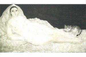 藤田嗣治・裸婦と猫 1923
