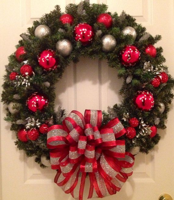 XL/30 Silver and red Christmas wreath  by Enywear on Etsy, $78.50
