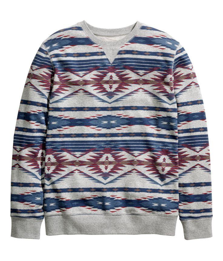 Gray melange sweatshirt with printed geometric pattern.   H&M For Men