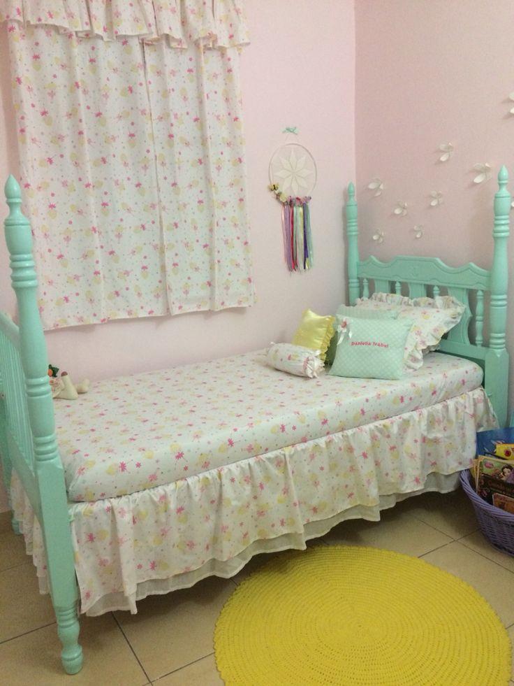 Little Girls Room. Girls Room Girls Bed. Pastel Colors. Turquoise Bed.  Crochet
