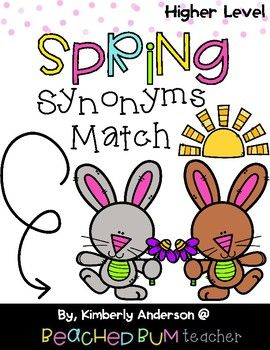 "This adorable activity is a fabulous review center to utilize during the springtime season.  I have multiple other sets that match this Bunny/Flower theme.  I was asked to create more ""challenging"" Synonyms.  So I have two levels of the same themed activity."