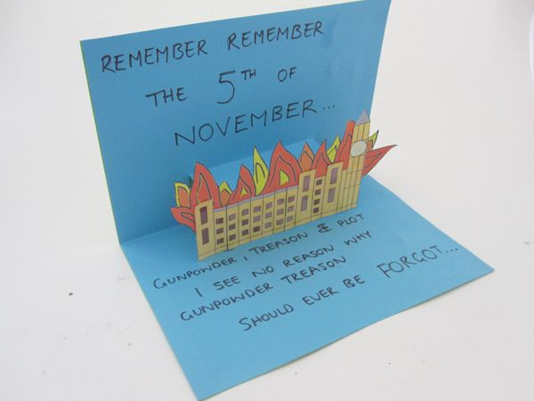 Pop up bonfire night card. Good for literacy and fine motor skills.