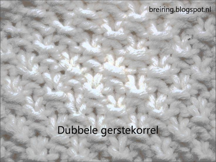 Dubbele gerstekorrel steek op breiring of breiraam breien
