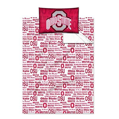 Twin NCAA COL Ohio State Buckeyes Columbus Anthem Sheet Set Red Gray Sports Patterned Bedding Team Logo Ohio State Merchandise Team Spirit College