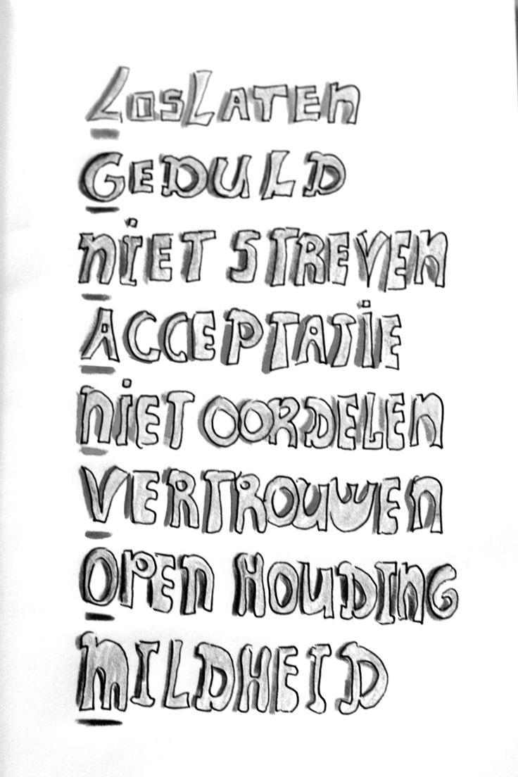 De acht principes van mindfulness: loslaten, geduld, niet streven, accepteren, niet oordelen, vertrouwen, open houding, mildheid