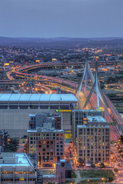 Fantastic picture of the TD Garden and the Zakim bridge.