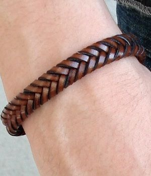H&M brown leather woven bracelet / Nice woven bracelets for men / peter foster on Fuseink