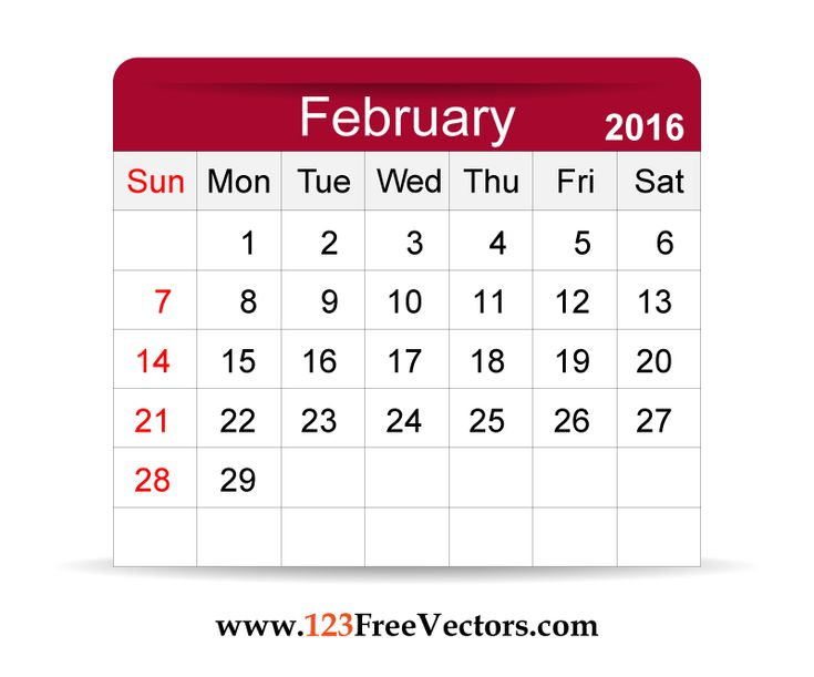 Download Free Vector 2016 Calendar February Printable Template Design. Can be used for business, corporate office, education, home etc. Free Editable Monthly Calendar February 2016 available in Adobe Illustrator Ai
