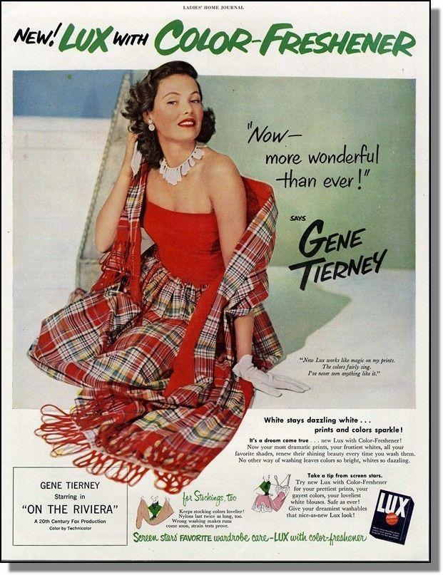 1951 Movie Star Gene Tierney - Lux Soap Print-Ad picclick.com