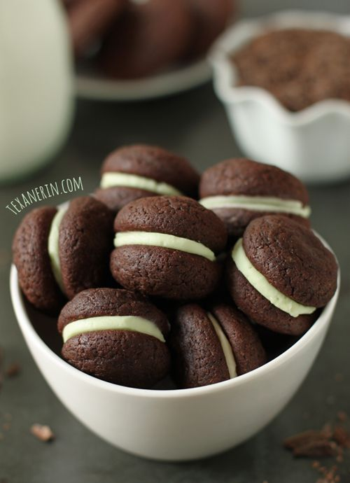 Soft Chocolate Mint Cookie Sandwiches from Texanerin Baking