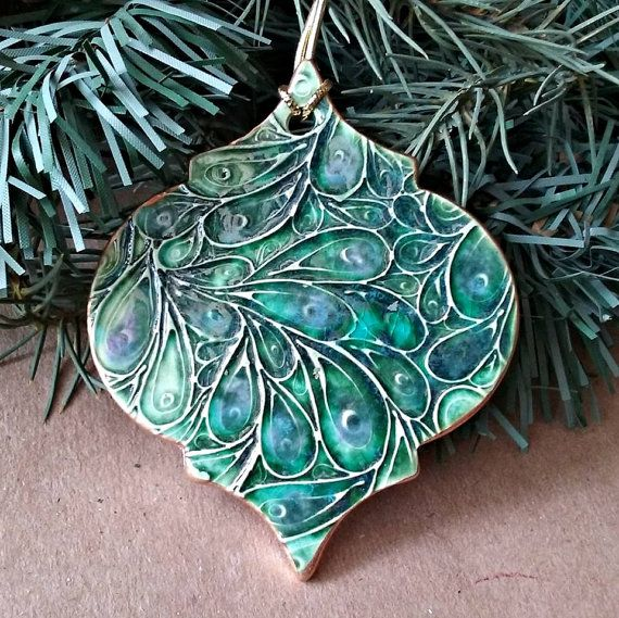 Ceramic Christmas Ornament Peacock Green edged in gold by dgordon