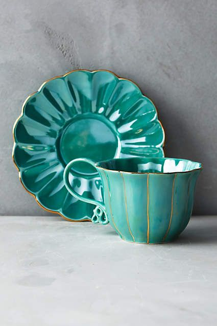 Wonderland Tea Cup and Saucer - anthropologie.com