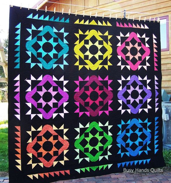 Amish Quilt, Handmade Quilt, Quilts For Sale, Queen Quilt, Summer Solstice Quilt, Star Quilt, Bed Quilt, Busy Hands Quilts