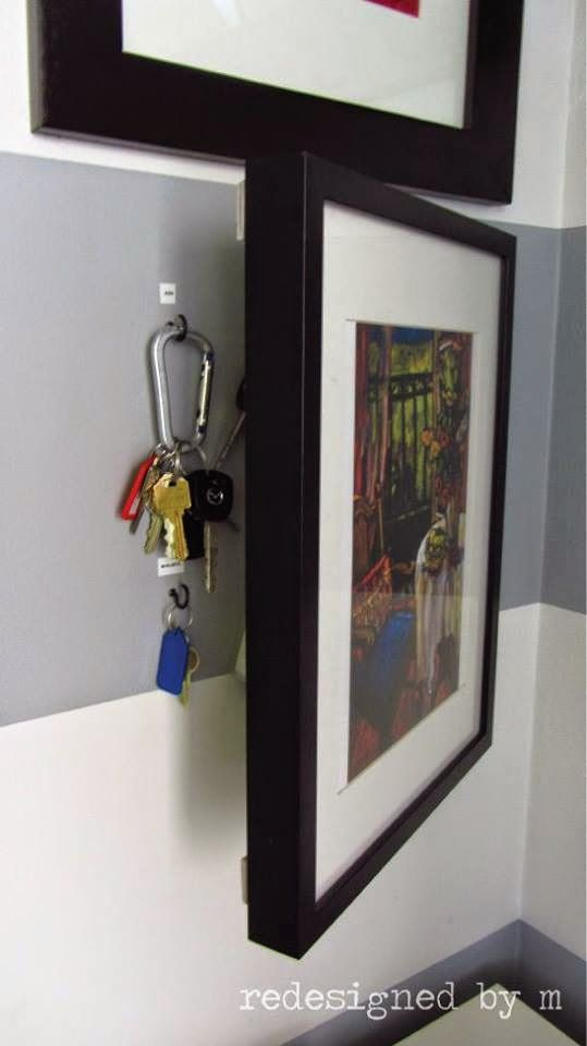 Well this is clever! Hanging keys in the entry way can sometimes look disorganized. Easy fix? Hide them behind custom framed artwork! This will make you feel like a secret agent every time you grab your keys, and who doesn't want to feel like that?