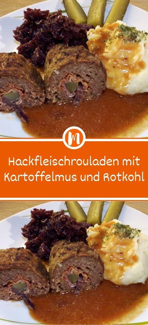 Hackfleischrouladen mit Kartoffelmus und Rotkohl